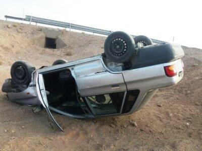 واژگونی خودروی پراید در بیشه با یک مصدوم