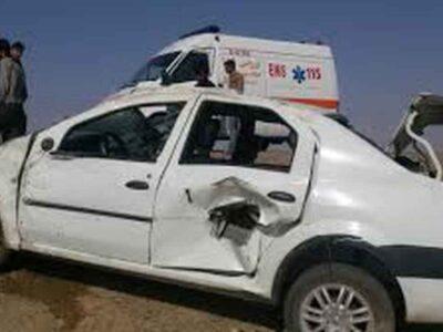 واژگونی خودروی سواری در مسیریزد بافق بایک فوتی و یک مصدوم