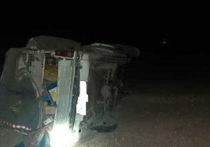 واژگونی خودروی وانت در مسیر بافق – یزد با یک مصدوم