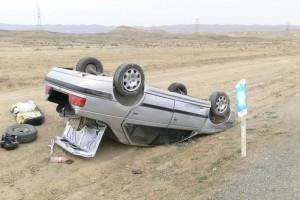 واژگونی یک دستگاه خودروی پژو در محوربافق نوق با یک مصدوم و یک فوتی