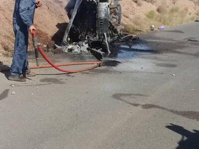 واژگونی و آتش سوزی پژو در محور شیطور گزستان با یک مصدوم