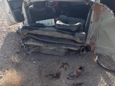 واژگونی خودروی تیبا با دو مصدوم در مسیر بافق- یزد