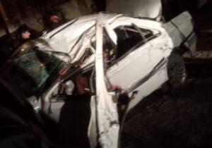 یک کشته و چهار زخمی بر اثر واژگونی خودروی سواری در ابتدای جاده عباس آباد مبارکه